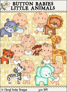 Button Babies Little Animals 1 - Clip Art by Cheryl Seslar
