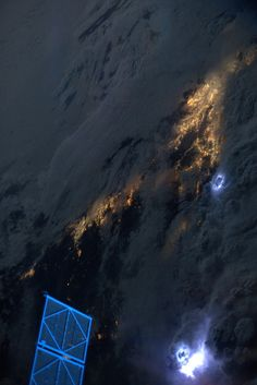 Early morning lightning storms, inland of LA and Sand Diego.  Taken July 21, 2013.  KN from space.