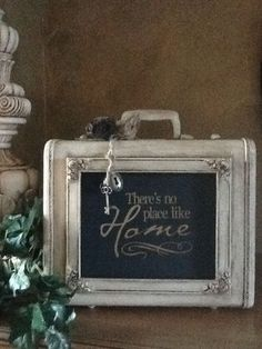 Frame on vintage luggage all chalk painted.