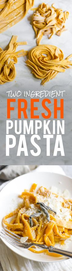 Two Ingredient Fresh Pumpkin Pasta. Click through for this easy to make recipe! Wholefully.com
