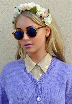 VINTAGE ROUND YELLOW REFLECTIVE/MIRROR SUNGLASSES