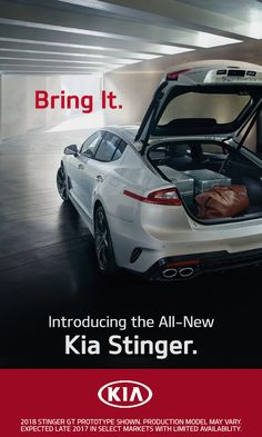 Introducing the all-new 2018 Kia Stinger. Kia's GT Concept Car brought to life as a true Grand Touring vehicle, complete with rear- or all-wheel drive, premium amenities, and head-turning design. Learn more at Kia.com.
