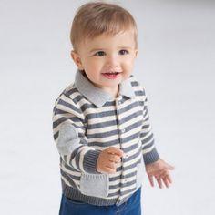 Stripe And Stylish front pockets Beige Cardigan  @ Looksgud.in   #Striped #KidsStyle #Beige