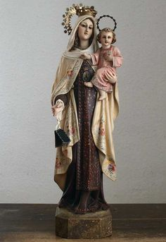 Etsy のOur Lady of Mount Carmel Madonna and Child Glass Eyes Statues Spain Religious Antiques/165(ショップ名:GliciniaANTIQUE)
