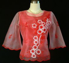 BUY BEAUTIFUL RED KIMONA #5295 PRICE: $42.50 The demure appeal is perfect on this sweet organza blouse. With bell sleeves and embroidered floral design give this top a feminine fit. #Dress it up with a skirt or pair it with black dress pants for a style. #barong #barongtagalog #womensbarong #philippinefashion #fashion #embroidery #onlineshopping #customes #selfie #halffilipina #filipina #weddingday #wedding