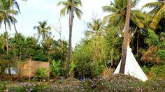 Tipis and outdoor shower. www.lamangrovegoa.com