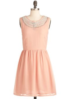 It's All in the Details Dress - Mid-length, Pink, Solid, Beads, Party, A-line, Sleeveless, Spring, Silver, Rhinestones, Luxe, Pastel