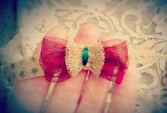 Xmas headband   Gold-red by NeedlePillow on Etsy