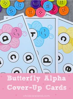 Butterfly letter cover-up cards for letter recognition and fine motor development.