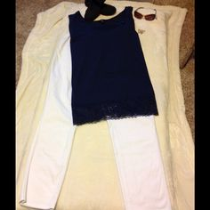 Lovely Outfit, Pretty White Pants and Navy Top Very Pretty Navy Top with Lace Accents Size 3x (room for shrinking) and White Slacks Size18.  Slacks have Stretch Waist Band.  Selling Both Pieces as a Bundle.  Will also Separate if you Want. Jessica London Pants