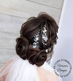 Hairstyle for a beautiful bride ❤❤❤ ______________ Hairstyle by  Accessories by  Beautiful Bride, Romania, Veronica, Wedding Hairstyles, Handmade Jewelry, Victoria, Hair Styles, Accessories, Fashion