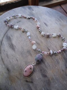pink and pewter grey necklace by ljctree on Etsy, $30.00