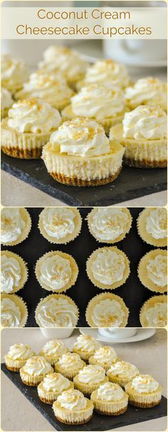 Coconut Cream Cupcakes – at only 224 CALORIES EACH, these delectable mini cheesecakes are exactly the same as our full sized Coconut Cream Cheesecake, except in a smaller, portion controlled size. A great idea for Thanksgiving dinner dessert! Mini Desserts, Just Desserts, Delicious Desserts, Yummy Food, Plated Desserts, Elegant Desserts, Easter Desserts, Health Desserts, Oreo Cupcakes