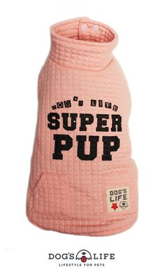 Superpup Lightweight Puffer Vest. Dog's Life's tall Superpup Lightweight Puffer Vest. A warm, lined jacket featuring high neckline, a soft coral fleece lining, two rows of press-studs and two outer pocket on the back. The vest is finished with a screen print SUPERPUP on the back and Dog's Life label sewn onto the right pocket. Soft Corals, Line Jackets, Puffer Vest, Dog Life, Screen Printing, Studs, Label, It Is Finished, Neckline