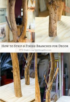 Learn how to strip, stain, and seal tree branches for home decor projects. The possibilities are endless, and branches are FREE!