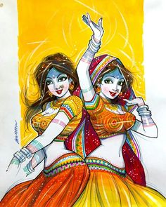 Indian Women Painting, Indian Art Paintings, Cartoon Girl Drawing, Girl Cartoon, Comic Drawing, Cartoon Drawings, Cartoon Art, Indian Illustration, Abstract Painting Techniques