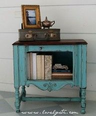 Cast off antiques take on new life when painted turquoise. Fab!