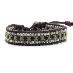 Chan Luu - Medium Green Single Wrap Bracelet on Natural Dark Brown Leather, $123.00 (http://www.chanluu.com/bracelets/medium-green-single-wrap-bracelet-on-natural-dark-brown-leather/)