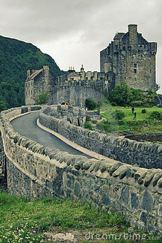Eilean Donan castle in the Scottish Highlands on a rainy day