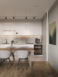 Goodhouse on Behance Kitchen Interior, Modern Interior, Interior Architecture, Interior Design, Minimal Kitchen Design, Minimal Home, Kitchen Dinning, Living Room Kitchen, Small Modern Kitchens