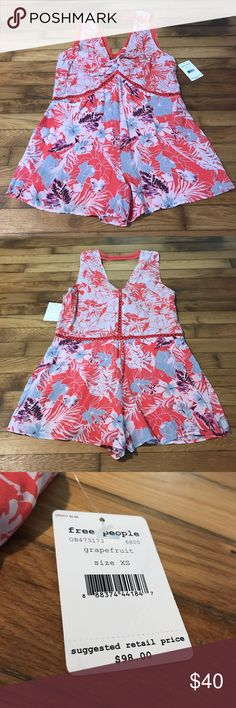 NWT Free People Romper Grapefruit Combo XS $98 NWT Free People Romper Grapefruit Combo Size XS $98 Free People Other