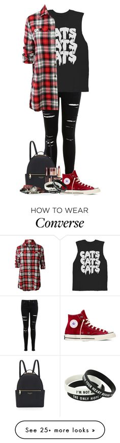 """Untitled #257"" by londoner6401 on Polyvore featuring Miss Selfridge, Samsung, LE3NO, Henri Bendel, Converse and Charlotte Tilbury"