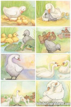 The Ugly Duckling Story- Morals: Don't judge a book by its cover or treat people differently because they look different. English Stories For Kids, Moral Stories For Kids, Short Stories For Kids, Kids Story Books, Sequencing Pictures, Story Sequencing, Writing Pictures, Story With Pictures, Picture Story For Kids