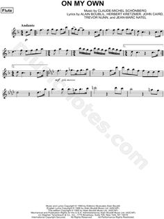 Print and download On My Own sheet music from Les Misérables arranged for Flute. Instrumental Solo in F Major.
