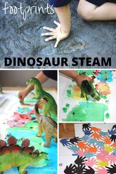 Dinosaur footprint activities for Dinosaur STEAM art math science activities. Fun and simple preschool dinosaur ideas that explore the size and shape of dinosaur foot prints.