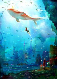 Big Fish and Begonia Art And Illustration, Fantasy Kunst, Fantasy Art, Princesas Disney Dark, Yuumei Art, Animation, Arte Pop, Anime Scenery, Fantasy Landscape