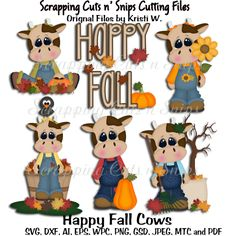 Happy Fall Cows Cutting Filles