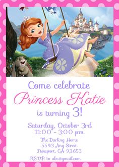 Sofia the First Invitation Kid's Birthday Party Invite Birthday Invitation on Etsy, $6.99