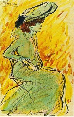 Pablo Picasso, Woman sitting in green dress, 1901 on ArtStack #pablo-picasso #art