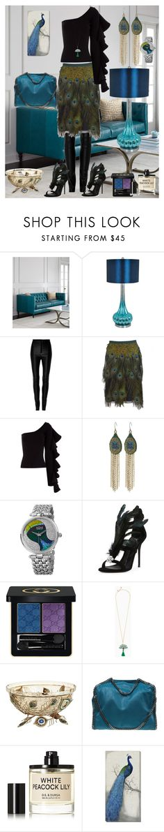 """Peacock style"" by anet-ko on Polyvore featuring Crestview Collection, Zeynep Arçay, Prada, Beaufille, Lucky Brand, bürgi, Giuseppe Zanotti, Gucci, Pier 1 Imports and STELLA McCARTNEY"