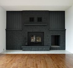 Fascinating Useful Ideas: Fake Fireplace Apartment double sided fireplace with tv above.Cabin Fireplace Open Floor fireplace with tv above hide tv.Fireplace And Tv Frame Tv. Fireplace Remodel, Grey Painted Brick, Grey Painted Fireplace, Fireplace, Painted Rock Fireplaces