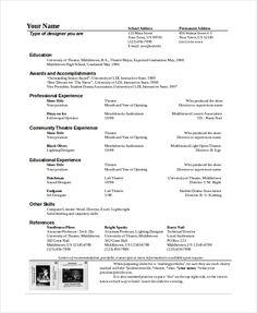 theatre technician resume template the general format and tips for the theatre resume template
