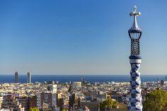 Park Güell Cityscape Gràcia Barcelona Catalonia Spain  www.alamy.com/image-details-popup.asp?ARef=FY3FRA marketplace.500px.com/photos/151899581 #cityscape #europe #city #building #landmark #unesco #artistic #spain #outside #barcelona #architecture #mosaic #park #design #fantasy #monument #art #guell #catalan #nature #touristic #gaudi #museum #structure #view #famous #ceramic #creativity #nouveau #imagination