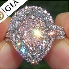 GIA Certified 3.36 ct SI2 Fancy Pink Diamond Engagement Wedding Ring 18k Gold