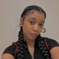 Two Braids Hairstyle Black Women, Black Hairstyles With Weave, Cute Braided Hairstyles, Black Girl Braided Hairstyles, Sleek Hairstyles, Baddie Hairstyles, Braids For Black Hair, Two Braids With Weave, Natural Hair Styles For Black Women