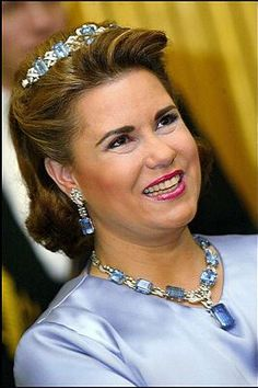 The late Grand Duchess Josephine-Charlotte of Luxembourg owned an aquamarine parure consisting of tiara, necklace of oblong stones, and earrings. It has most recently been worn by her daughter-in-law, the Grand Duchess Maria Teresa, as shown here.