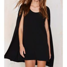 Nasty Gal Catherine Cape Dress Worn once in great condition. It features a textured black tank dress with a cape overlay, scoop neckline, and darted bust. Fully lined.  By Nasty Gal.  *Polyester  *Machine wash cold/Dry Clean Nasty Gal Dresses Midi