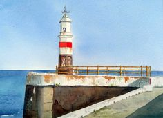 Peter Robinson, Isle Of Man, Lighthouse, Statue Of Liberty, Watercolor Paintings, Fair Grounds, Fun, Travel, Bell Rock Lighthouse