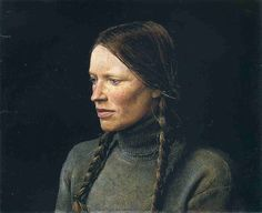 Andrew Wyeth (American, 1917–2009) Braids, 1979. [The Helga Pictures; portrait of Helga Testorf. See http://www.tfaoi.com/aa/3aa/3aa244.htm]