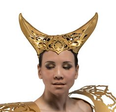 Filigree style leather horns in gold by skrocki on Etsy Medieval Clothing, Medieval Outfits, Leather Mask, Leather Accessories, Hand Stitching, Filigree, Horns, Bobby Pins, Sculpting
