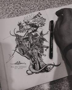 نقاشی سیاه و سفید با راپید