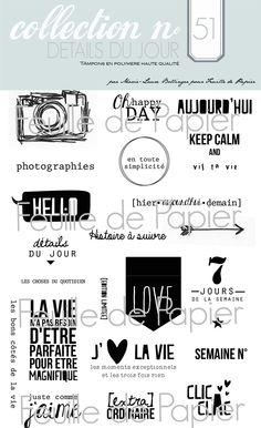 MATERIEL > Tampons > Marie-Laure Bollinger pour Feuille de papier > Collections N° 51 Détails du jour - Feuille de papier - Kits en ligne