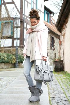 Rebecca Minkoff grey bag, Ugg boots Bailey Button in grey, Zara scarves, Sheinside coat, 7famk jeans, winter outfit by Fashionhippielove...