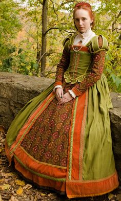 Elizabethan Green and Orange Gown (Stronghold Olde English Faire 2012)