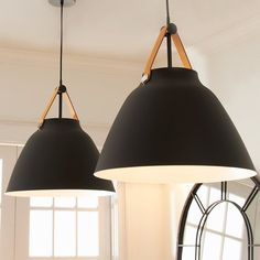 Farmhouse ready with a cowbell shape and a decorative leather strap, our Carillon Pendant will make for a great fixture in your kitchen. Versatile and trendy, this accessory can fit into more than one decor theme. Pendant Track Lighting, Farmhouse Pendant Lighting, Kitchen Pendant Lighting, Kitchen Pendants, Pendant Lights, Light Art, Chandelier Design, Chandeliers, Black Pendant Light