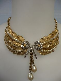 Beautiful Vintage Napier Drippy Bib Necklace with Pearl Accents | eBay